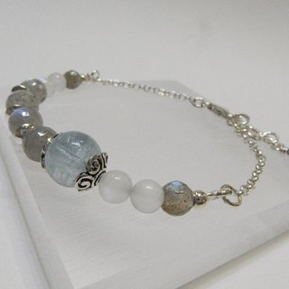 Mysterious Aristocrat - Natural labradorite + aquamarine + blue moonstone sterling silver bracelet. Hong Kong original design