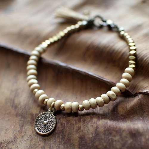 Muse natural wind series NO.8 khaki round wooden bead bracelet pendant brass