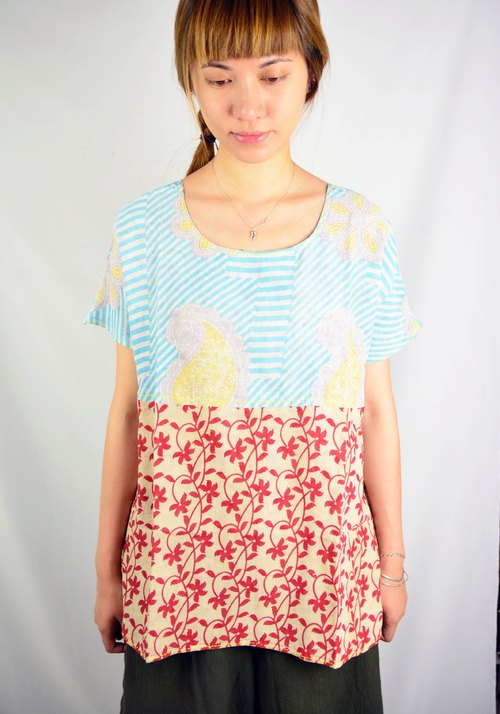 Sari wide collar shirt _ fair trade