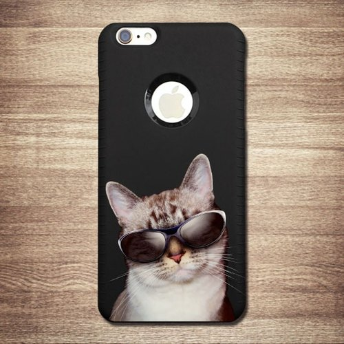 iPhone 6 / 6S [cat meow star people, cool cats professor ~] Christmas black shell 3D stereo phone shell relief + travel card, love loving boutique design