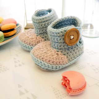 Handmade knit baby shoes - hit the color long-barreled shoes (shoes red flour)