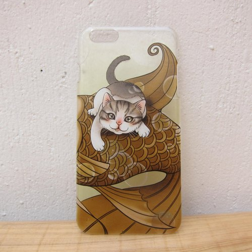 Styled illustration mobile phone case / transparent hard shell / cat - Matcha milk chocolate