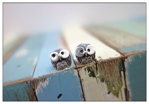 ~ Owl*Kaka & think*<ear clip version> Sterling Silver earrings ~ <This area is a single oh ~> Sheep + hand-made