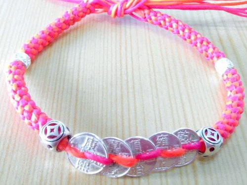 One hundred wax line silk silver broke for creative Bracelet - wealth and Five Emperors money