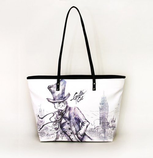 Meow good water repellent colored cat tote bag Holmes (London fog)