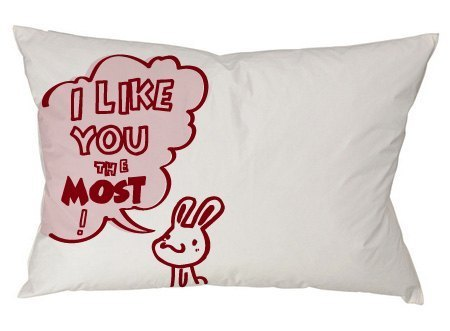 """Foufou"" pillowcase (single-entry) -I like you the most! I like you! (White)"