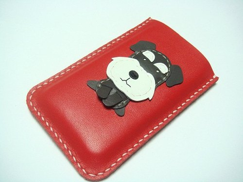 {Leatherprince 手工皮革} 台灣MIT 紅色 雪那瑞 iPhone 純手工牛皮保護套 / James the Schnauzer iPhone leather case ( Red )