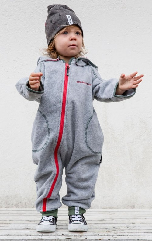 [Sweden] made of organic cotton gray hair hooded jumpsuit 18M-24M
