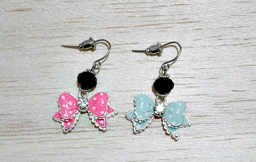Alloy * sweetheart bow * _ hook earrings - color series -