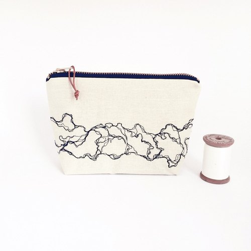 Marble embroidery pencil case, white make-up bag, medium zipper pouch