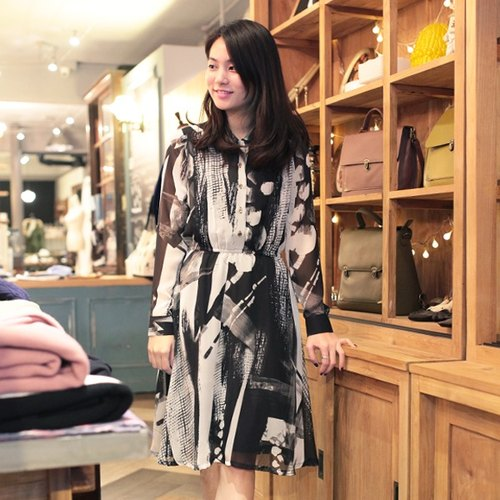 GT chic lady crimp long-sleeved dress