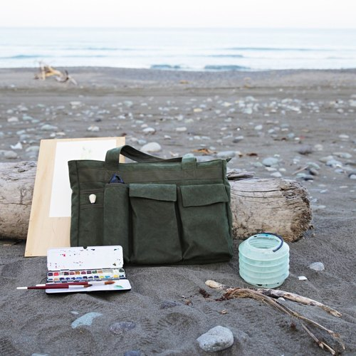 Mushrooms Mogu canvas bag / shoulder bag / tool bag / painting bags / Gauguin and Vincent (Army Green)