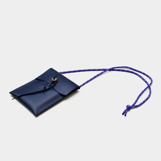 【Poseidon's ear - Wenqing Edition】 leather mobile phone bag blue leather mobile phone bag hanging neck can put a leisure card, documents IPHONE6,6s, 7