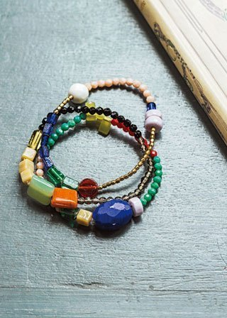 "Earth tree fair trade-2013 autumn and winter ""Jewelry Series"" - handmade colorful stone bracelet natural trebles set"
