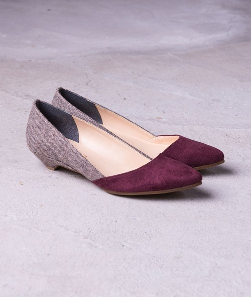 [Custom] micro sexy fashion low-heeled pointed purple _ / The Crystal Brown
