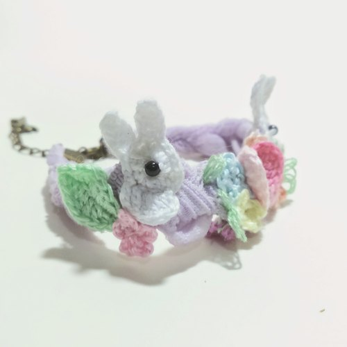 Flower and small white rabbit bracelet - purple yellow tape
