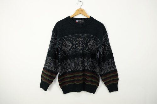 """Jumpinglady"" classical black and gray sweater thick three-dimensional totem vintage weave sweater gift special unique fantasy world of men and women can wear stick texture antique old vintage oversized items"