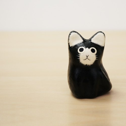 And paper cat - Little Mercedes (black and white cat) healing feeling full cure was small Japanese handmade furnishings ornaments valentine