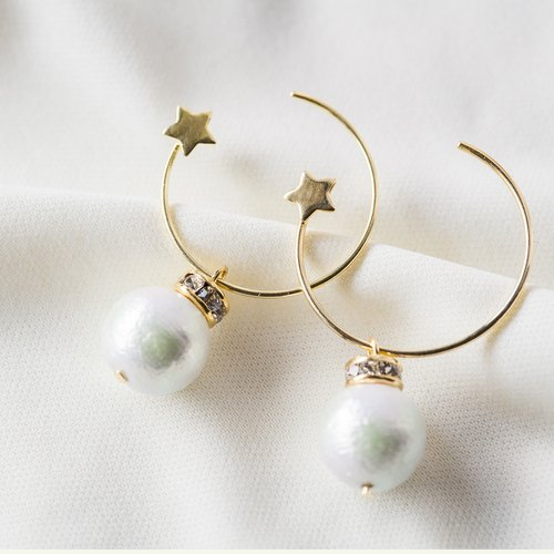 [ Circle of Star - cotton pearl earrings ]