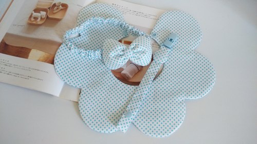 Little blue gift birthday gift births flower bibs + pacifier clip + Headdress
