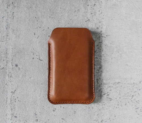 Caramel brown natural genuine leather phonecase