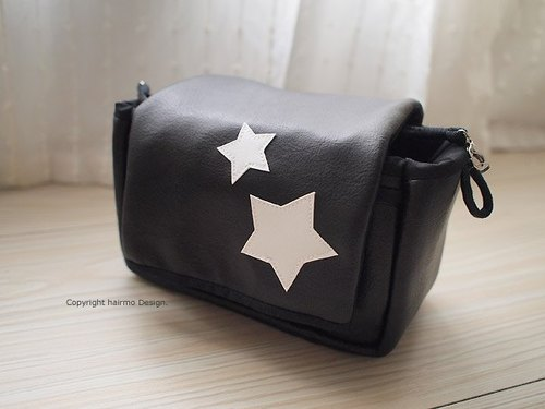 hairmo. Star leather zipper camera bag hand section - black (monocular / category monocular)
