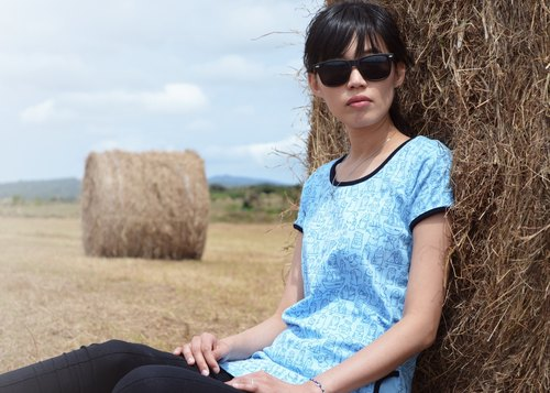 【Peej】'Little Idiots' Combed cotton t-shirts / Light Blue