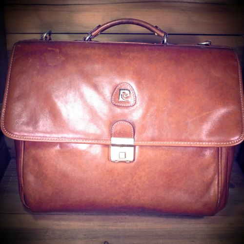 [Bones] early Pierre Cardin portable dorsal caramel leather briefcase genuine antique print bag Vintage
