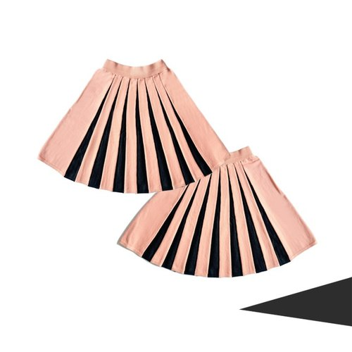 Salmon Pink Central Pleated Knitted Half Circle Skirt