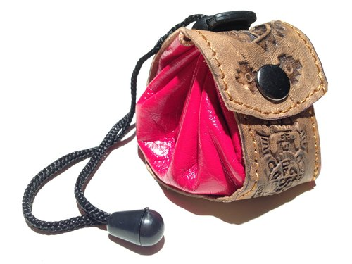 Leather feel beam port small purse - leather brand totem - Red