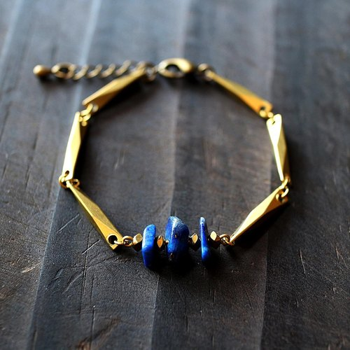 Muse natural wind series NO.165 blue lapis lazuli bracelet brass section