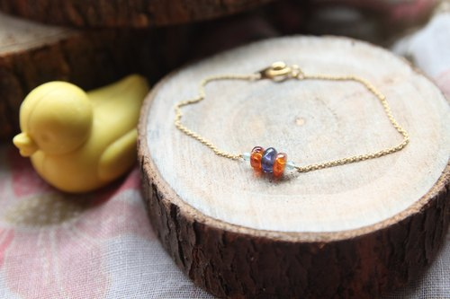 Natural cordierite with gold-plated bracelet orange Monique