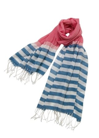 "Earth tree fair trade- 2014 ""Scarf"" - hand-woven cotton scarves (blue and red)"