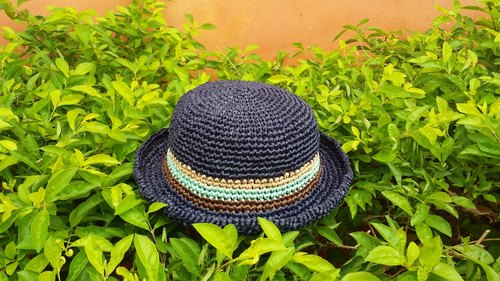 Child straw hat - navy blue