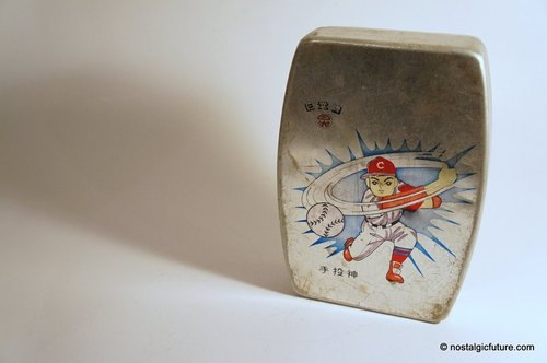 Vintage Aluminum Lunch Box old objects old days, the sun god brand aluminum baseball pitcher lunch box