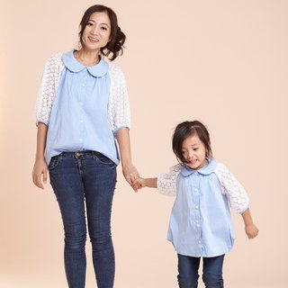 Light sweet parent-child wear ~ temperament wind stitching lace seven-point sleeve shirt
