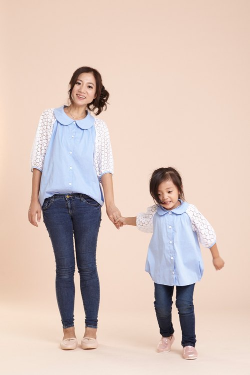 Light and darling equipment ~ temperament splicing lace seven sleeves shirt