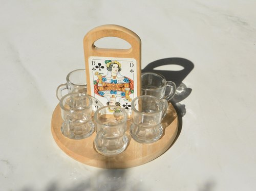 German antique beer mug cup shape of the shot group (six up) containing tray