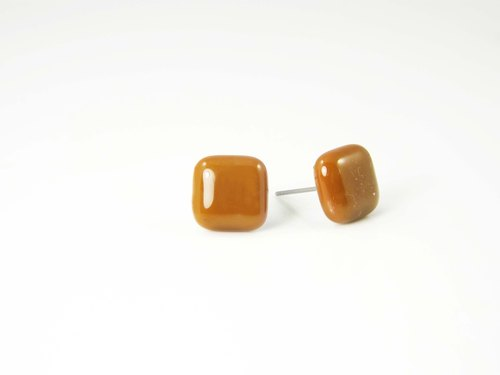 Square handmade glass earrings - Coffee