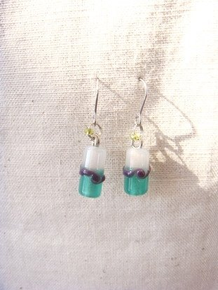 Grapefruit'm handmade glass - glass earrings color waves