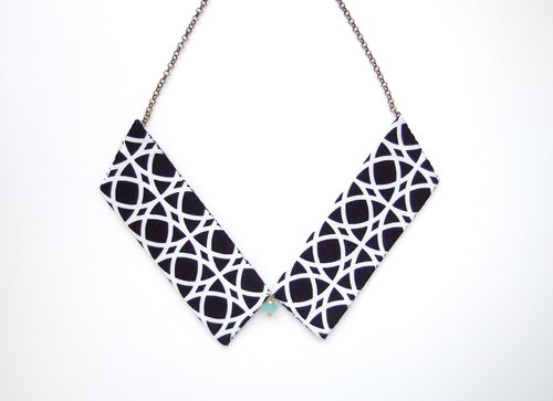 Collar Necklace| Black & White| Geometric