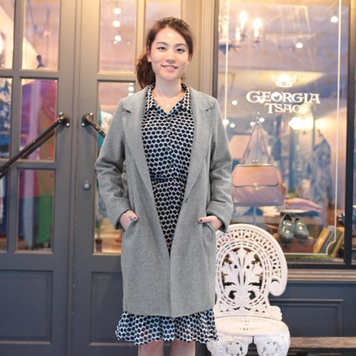 GT light gray wool coat jacket