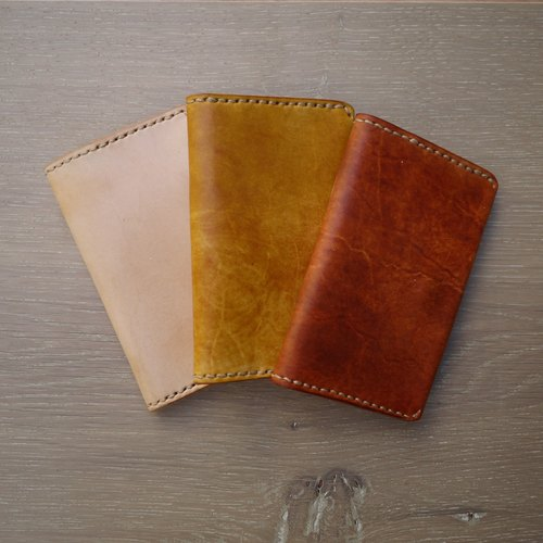 Hai card HIKER / Hand Italian vegetable-tanned leather material _ leather _ double open Contacts
