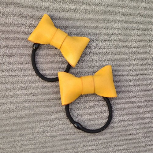 HIKER Leather Studio // Bow hair ring_Yellow color