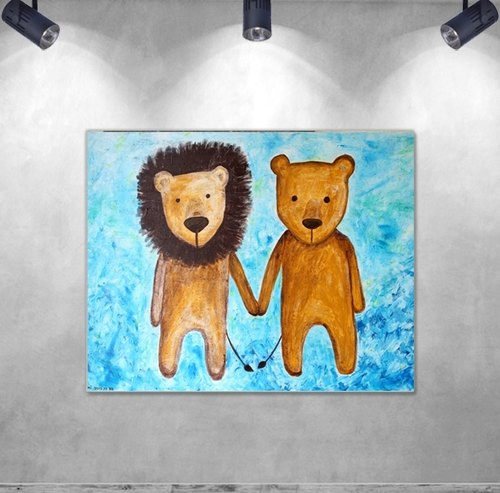 Copy frameless painting | hand in hand Lions