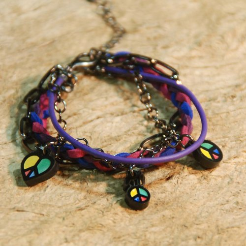 Colorful peace sign / multi-level braided rope bracelet /