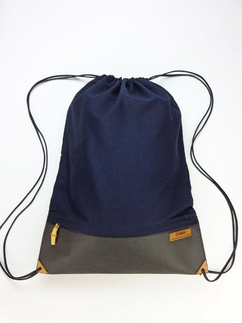 After tote bag beam port backpack (Black x dark blue) [bamboo] [Green] [natural decomposition]