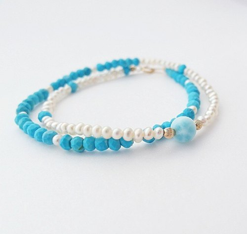 | Touch of moonlight | Natural Turquoise Double Bracelet Blue Lalimahai Treadstone Limited
