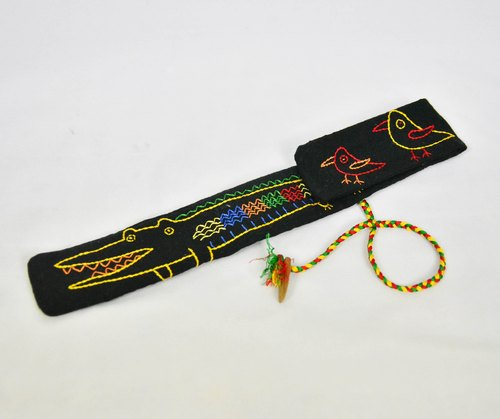 Embroidery chopsticks sets _ black crocodile _ fair trade