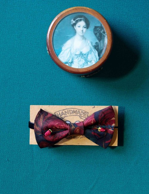 Papa's Bow Tie- tie restructuring antique cloth flowers red roses hand-tie -monsieur François with rose